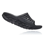 Mens Hoka ORA RECOVERY SLIDE 2 trail running recovery sandals - Black / Black