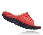 Womens Hoka ORA RECOVERY SLIDE 2 trail running recovery sandals - Ebony / Emberglow