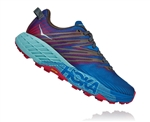 Womens Hoka SPEEDGOAT 4 Trail Running Shoes - Imperial Blue / Pink Peacock