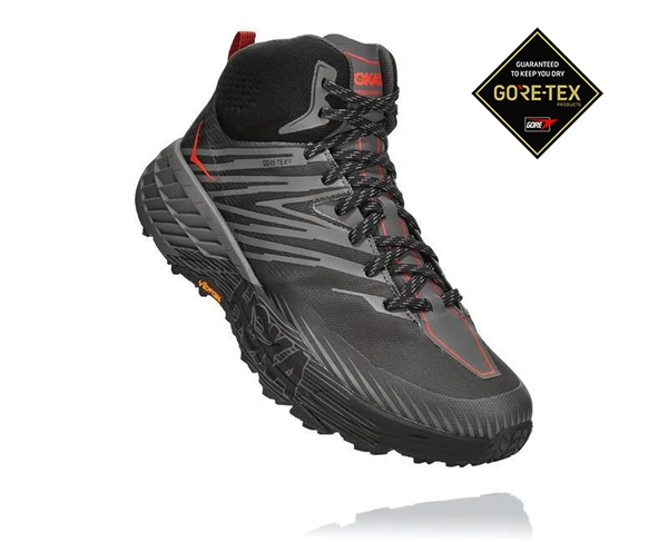 Mens Hoka SPEEDGOAT MID 2 GTX (GORE-TEX) Waterproof Trail Running Shoes - Anthracite / Dark Gull Grey