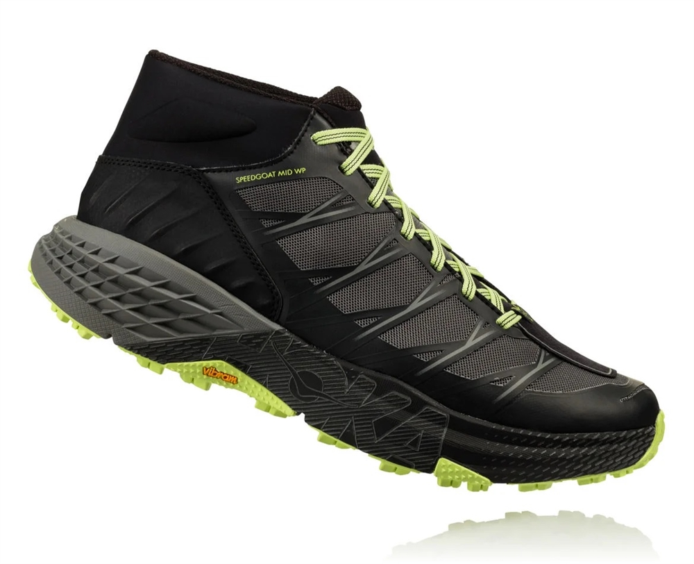 reputable site 2a53f a2b49 Men's Hoka SPEEDGOAT MID WP Waterproof Shoes - Black / Steel Gray