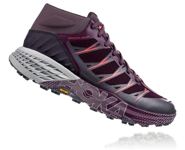 Womens Hoka SPEEDGOAT MD WP Waterproof Trail Running Shoes - Obsidian / Italian Plum