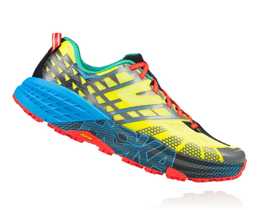 747351e420a8 Men s Hoka SPEEDGOAT 2 Trail Running Shoes - Citrus   Dresden Blue ...