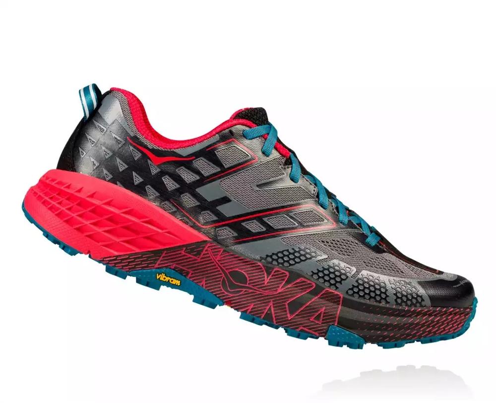 2ba7ad3703ae Men s Hoka SPEEDGOAT 2 Trail Running Shoes - Black   True Red ...