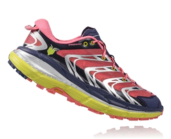 Womens Hoka SPEEDGOAT Trail Running Shoes - Astral Aura / Neon Pink