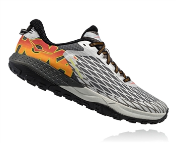Mens Hoka SPEED INSTINCT Trail Running Shoes - Metallic Silver / Cayenne