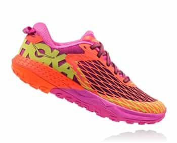 Womens Hoka SPEED INSTINCT Trail Running Shoes - Neon Coral / Plum