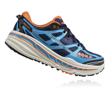 Mens Hoka STINSON 3 ATR Trail Running Shoes - Blue / Red Orange