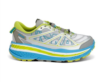 Mens Hoka STINSON ATR Trail Running Shoes - White / Cyan / Citrus