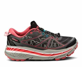 Womens Hoka STINSON ATR Trail Running Shoes - Grey / Coral / White