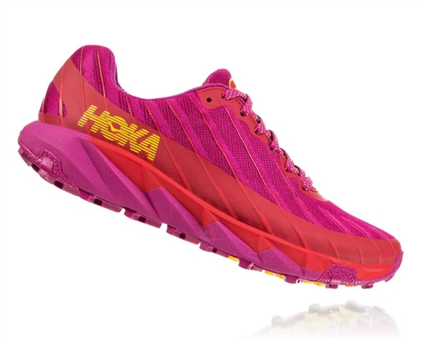 Womens Hoka One One TORRENT trail running shoes - Cactus Flower / Poppy Red