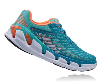 Womens Hoka VANQUISH 3 Road Running Shoes - Blue Radiance / Neon Coral