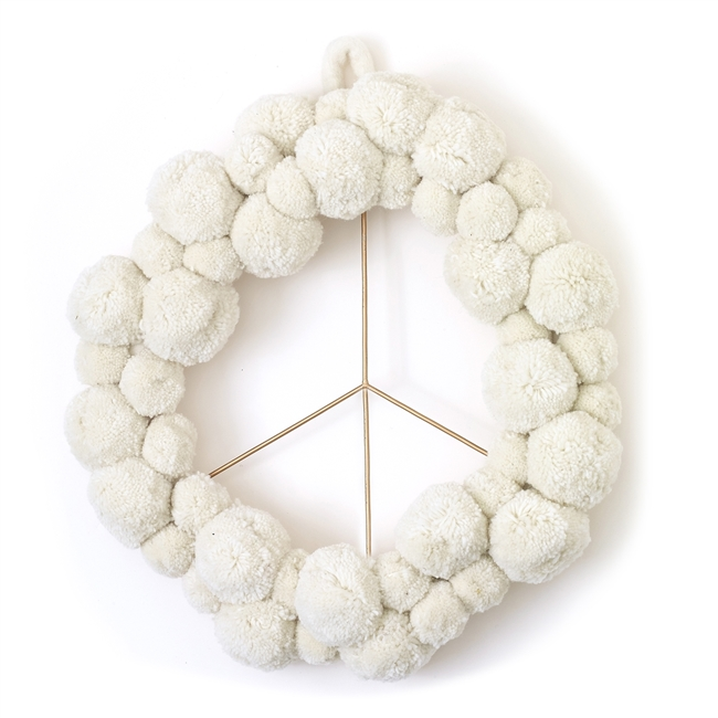 Peace Pom Pom Wreath
