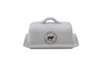 Stoneware Butter Dish With Cow Detail