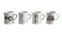 Ceramic Mugs With Farm Detail: Set of 4