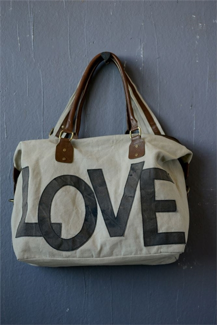 "Canvas Appliqued ""Love"" Satchel"