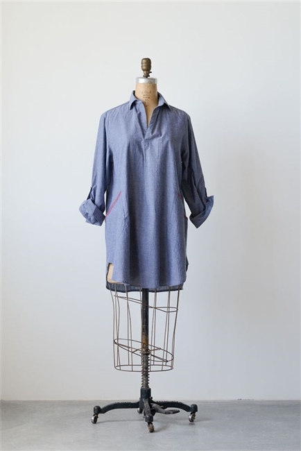 Cotton Olivia Chambray Tunic, Blue
