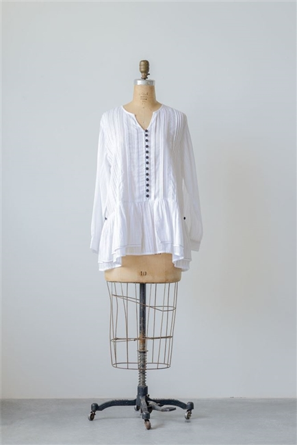 Cotton Chloe Dobby Shirt, White w/ Black
