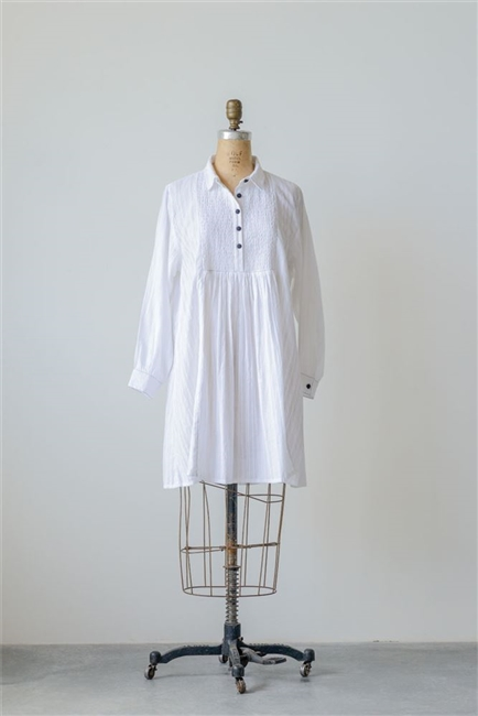 Cotton Madelyn Dobby Dress / Tunic, White w/ Black
