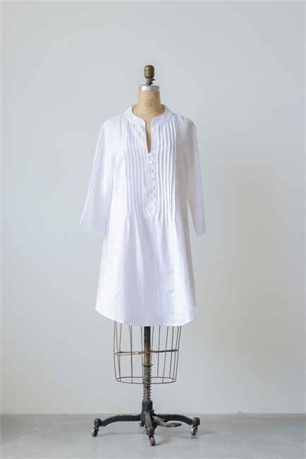 Cotton Linen Harper Tunic, White