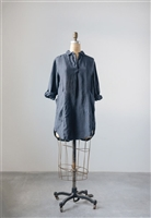 Linen Collar Lola Tunic, Charcoal Grey