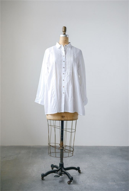 Cotton Voile Pleated Favorite Shirt, White
