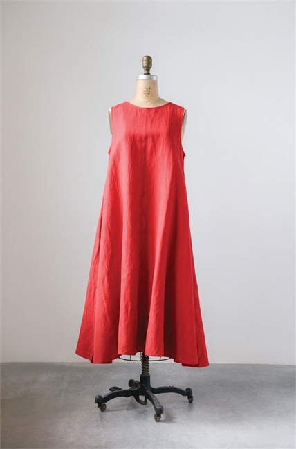 Cotton Linen Shari Dress, Red