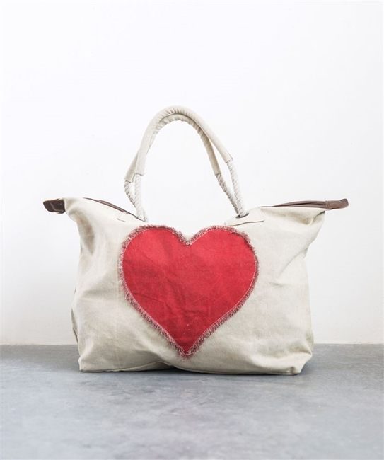 Cotton Canvas Zip Bag with Appliqued Heart