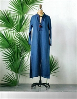Linen Palm Caftan, Blue & Dark Blue