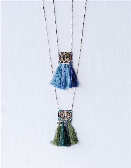 Metal & Brass Cassey Necklace with Cotton Tassel