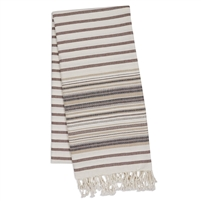 French Taupe Stripe Fouta Towel/Throw