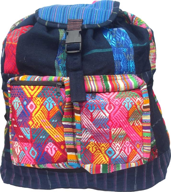 Colorful Patch & Denim Backpack