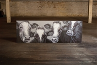 4 Cows Black & White Oil Painting