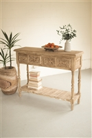 Carved Wood Console With Four Drawers & Lower Shelf