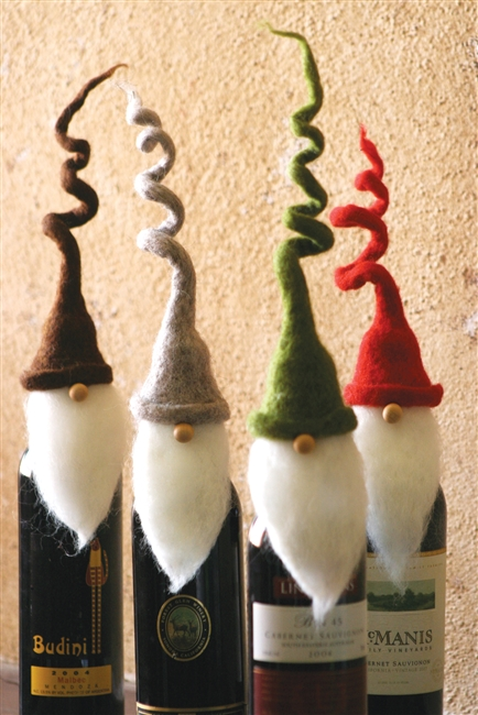 FELT SANTA WINE TOPPERS WITH CURLY HATS: Set of 4