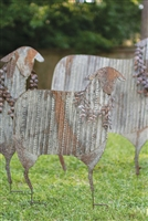 Corrugated Metal Holiday Sheep Yard Art: Set of 3