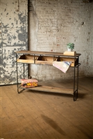 Farmhouse Wood & Metal Display Console with Drawers.