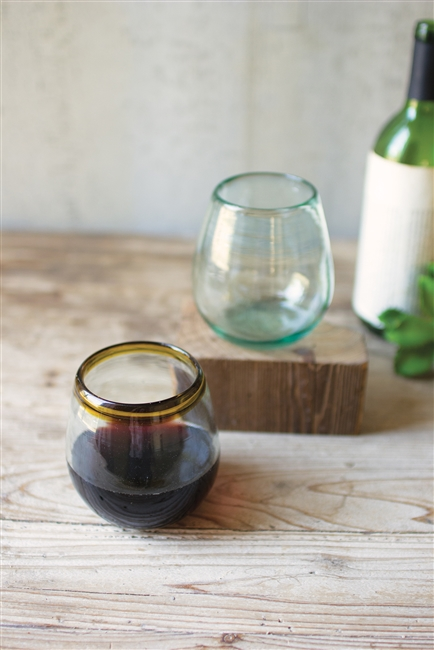 Stemless Wine Glasses with Amber Rims: Set of 6