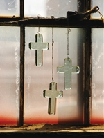Glass Cross Sun-Catchers: Set of 4