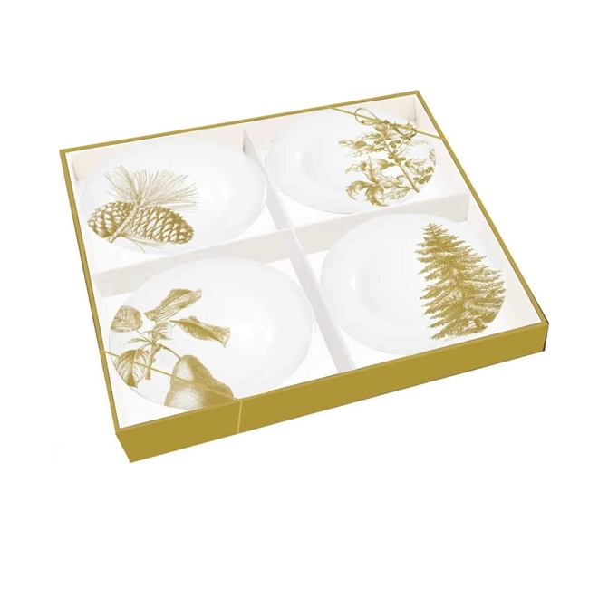 Gold Holiday Botanicals Gift Plate Set