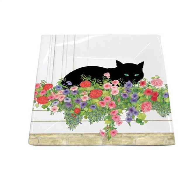 Black Cat Flower Box Square Plate