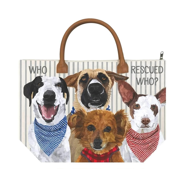 Who Rescued Who? Canvas Tote Bag
