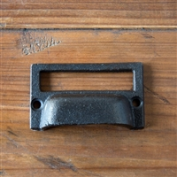 Cast Iron Vintage-Style Drawer Pull with Card Holder