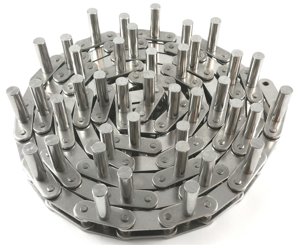 Straight SA-1 Attachment Attachment Chain C2080HPHSS // 2 in Pitch 600 Stainless Steel Material One Side Riveted