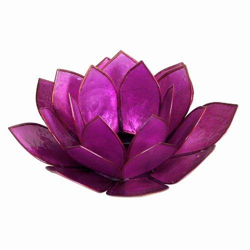 Purple Pearl Lotus Tealight Holder Larger Photo