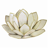 White Pearl Lotus Tealight Holder
