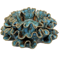 Ribbon Flower Blue Ceramic Tealight Holder