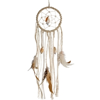 Dream catcher with shells, lace and feathers