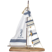 Sailboat with Seahorse Sail & Nautical Flags