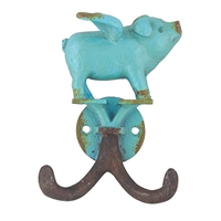 Flying Piglet Hook Antique Turquoise